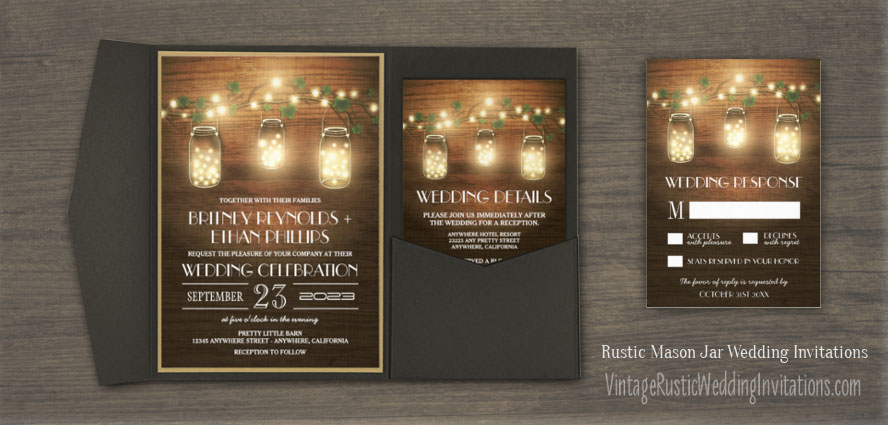 Country rustic mason jar wedding invitations set with barn wood