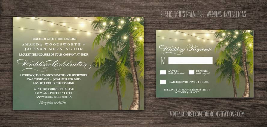 Rustic lights palm tree wedding invitations