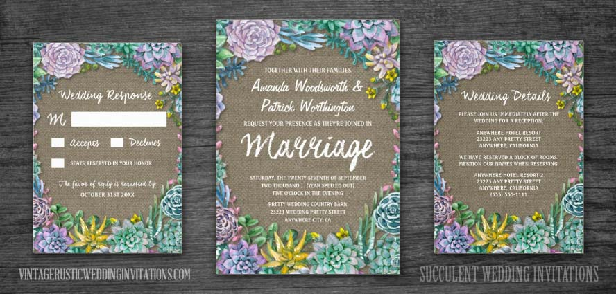 Succulent wedding invitations with burlap design