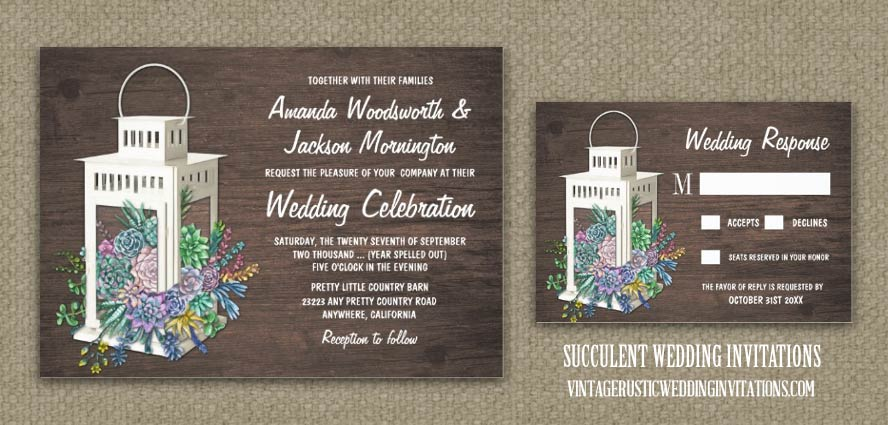 Succulent wedding invitations with wildflowers and a lantern