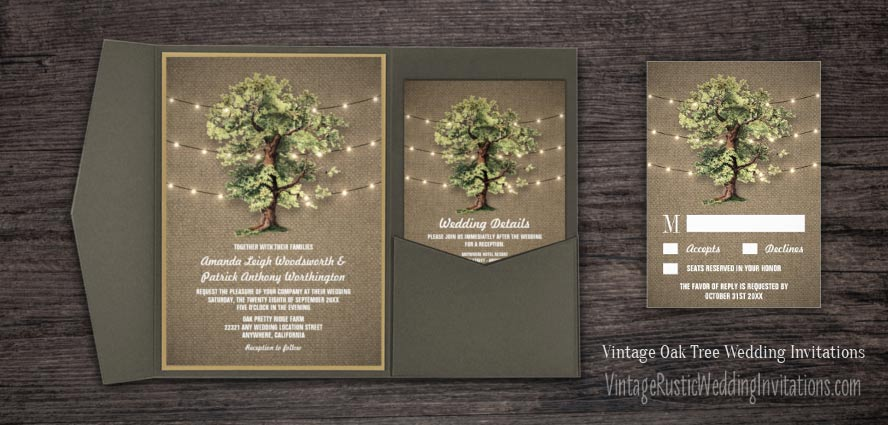 Vintage Oak Tree Wedding Invitations with Burlap and String Lights Set