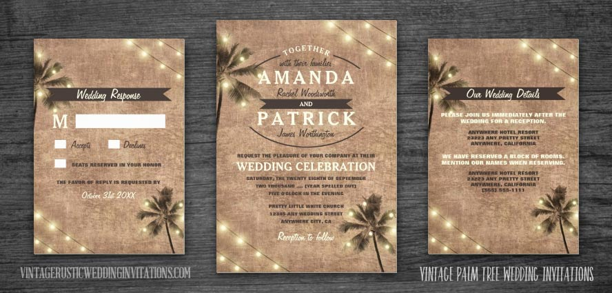 Vintage palm tree wedding invitations