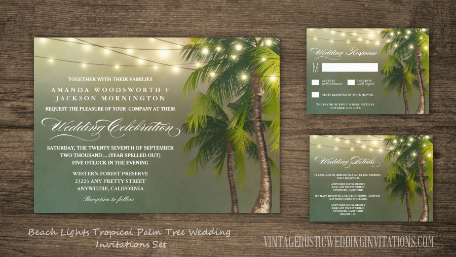 Beach lights tropical palm tree wedding invitations set