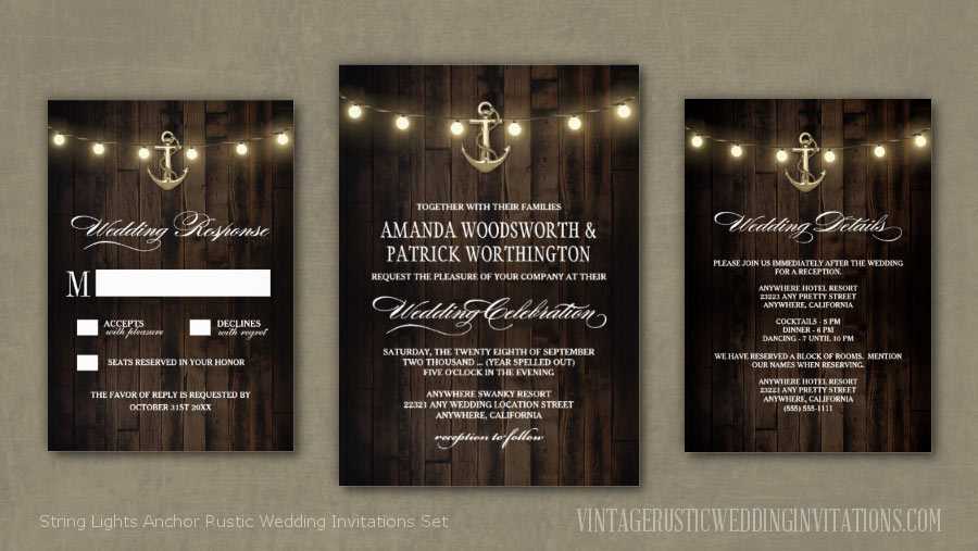 Rustic wood string lights anchor beach wedding invitations set
