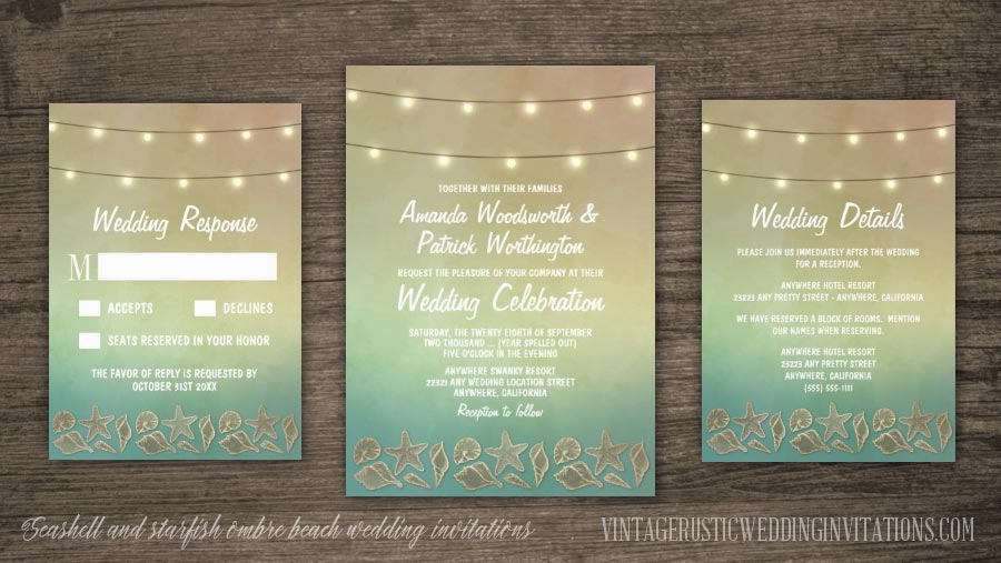 Seashell and starfish ombre beach wedding invitations set with twinkle lights