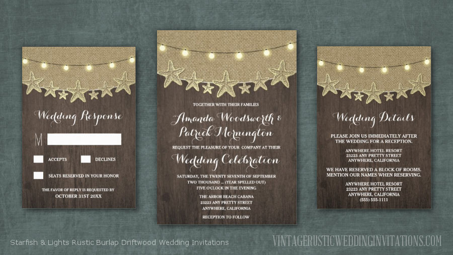 Starfish and string lights rustic burlap driftwood beach wedding invitations set