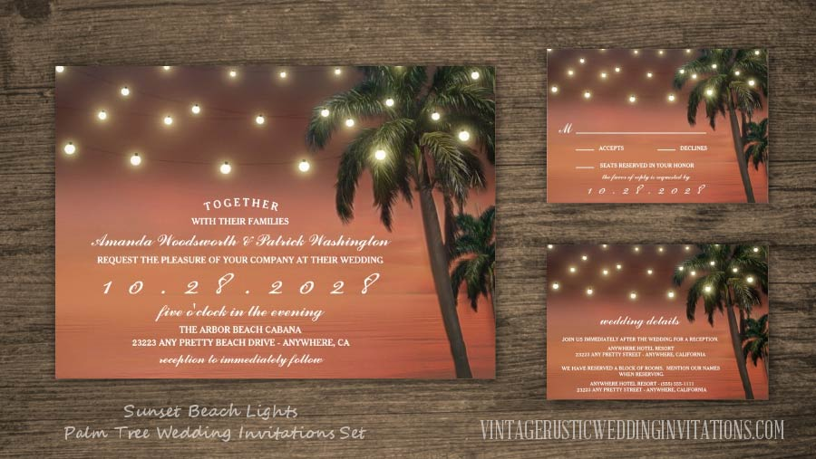 Sunset beach lights palm tree wedding invitations set