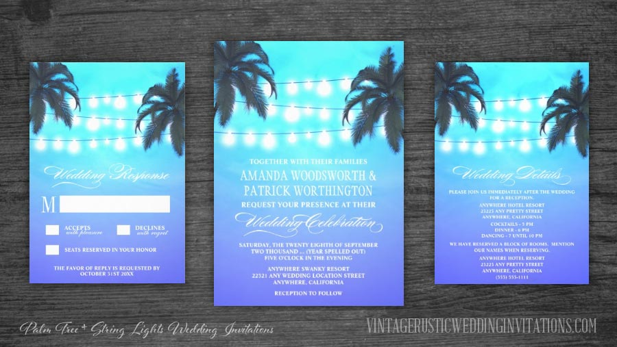 Tropical beach palm tree wedding invitations set with string lights and a watercolor background