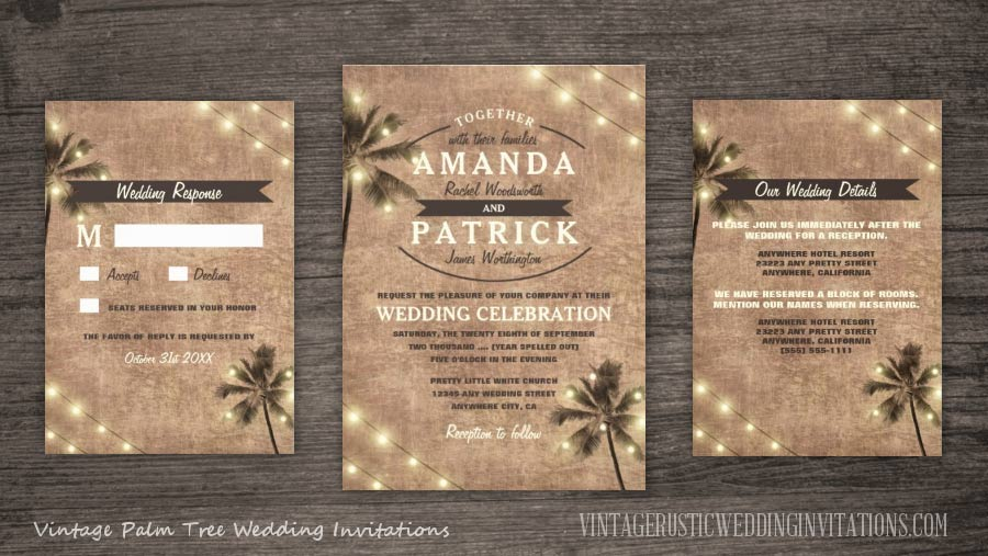 Vintage palm tree wedding invitations set