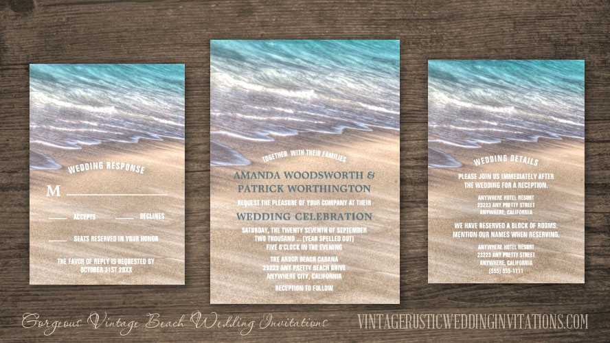 Vintage tropical waves beach wedding invitations set