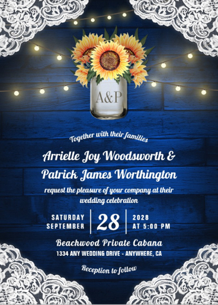 Sunflower wedding invitations royal blue barn wood design with lace and string lights