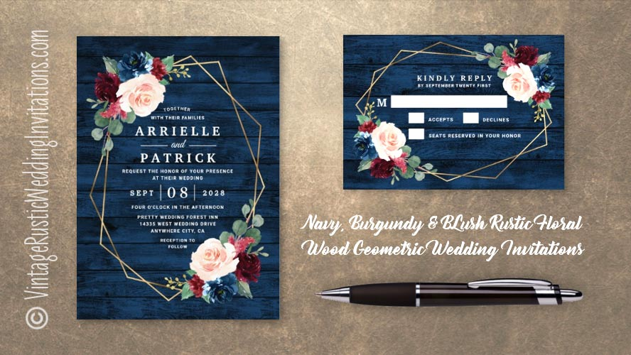 Rustic navy blue burgundy Marsala blush pink floral watercolor wedding invitations set