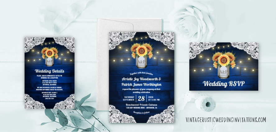 Sunflower wedding invitations with blue barn wood mason jars lace and twinkle lights.