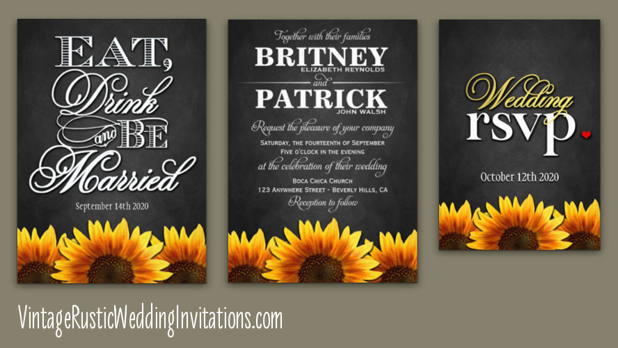 Sunflower Wedding Invitations Vintage Rustic Wedding