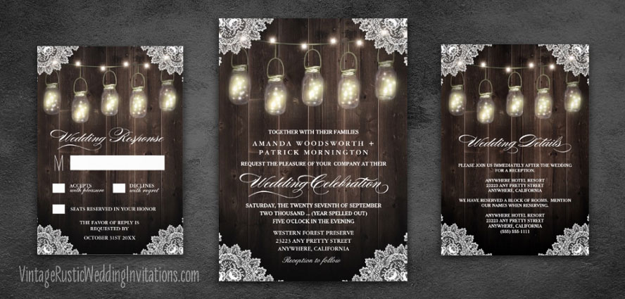 Mason jar wedding invitations with country lace and rustic barn wood design.