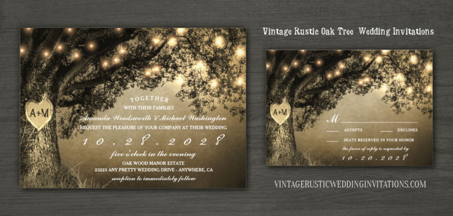 Rustic Themed Oak Tree Wedding Invitations Set With Vintage Or Country String Lights