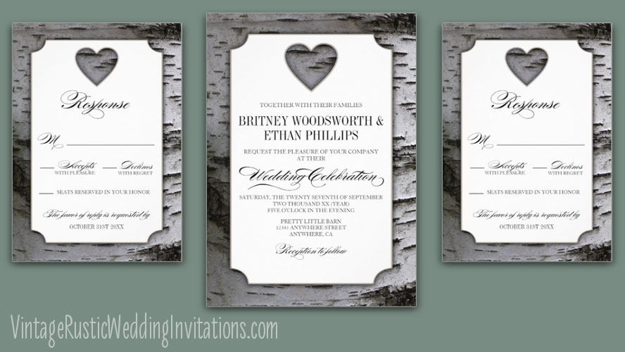 Cutout Heart Birch Tree Bark Wedding Invitations