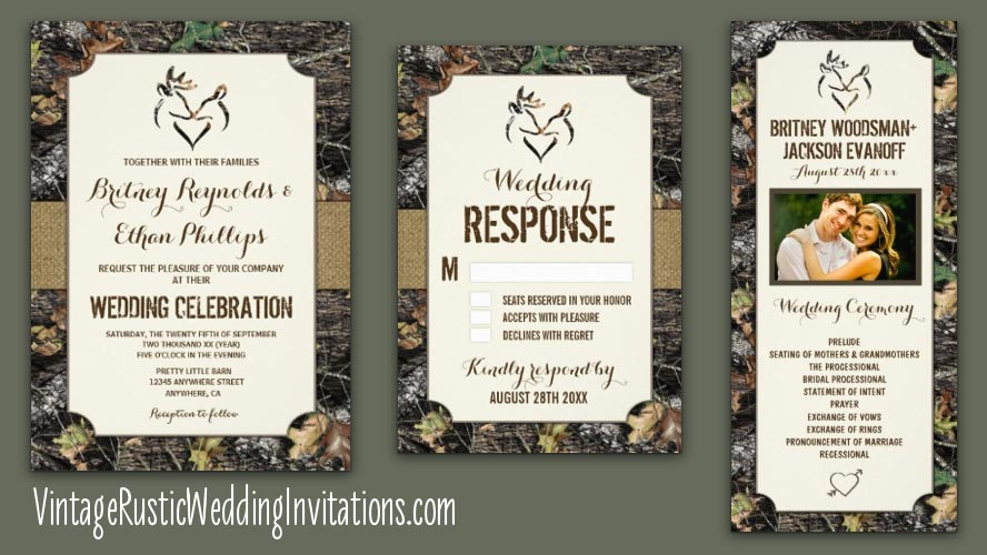 Deer Heart Realtree Camo Themed Wedding Invites Set