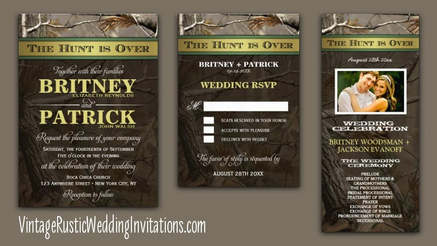 The Hunt Is Over Camo Wedding Invitations