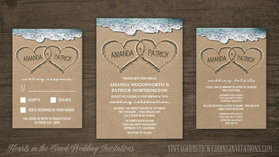 Hearts In The Sand Beach Wedding Invitations Set